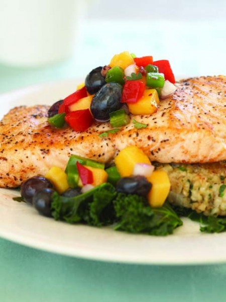 Salmon with blueberry mango salsa. Photo credit: Canyon Ranch