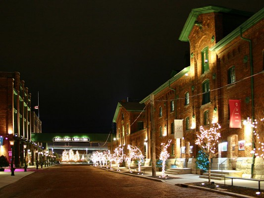 Distillery District at Night in the most diverse city in Canada