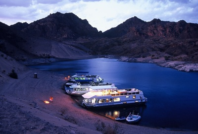 Lake Mead Callville Bay houseboats at night