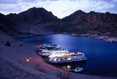 Callville Bay houseboats at night