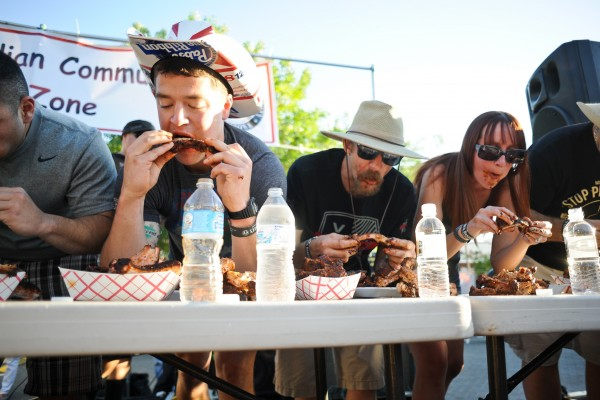 Rib Eating Contest at the Great American BBQ & Beer Festival