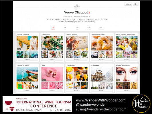 Veuve Clicquot's Pinterest boards evoke a particular lifestyle and feelings