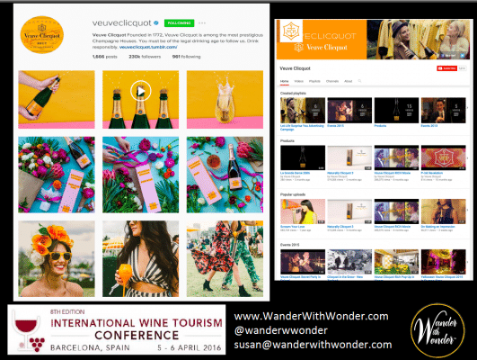 Veuve Clicquot Instagram and YouTube accounts target young wine consumers